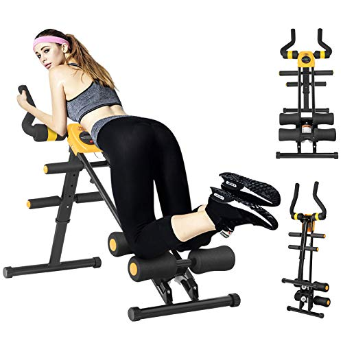 Bauchtrainer, Bauchtrainer klappbar für Zuhause, Bauchtrainer mit 5 stufigem Widerstand, Bauchmuskeltrainer mit LCD-Display, Belastung bis 100kg, Multifunktionale Fitnessgeräte für Zuhause