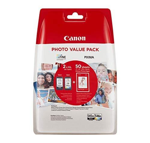 Canon Valuepack de Tinta Original BK XL+Tricolor XL (GP-501 50 Sheets) para Impresora de Inyeccion de Tinta Pixma + Cartucho de Tinta Original Negro XL para Impresora de Inyeccion de Tinta Pixma