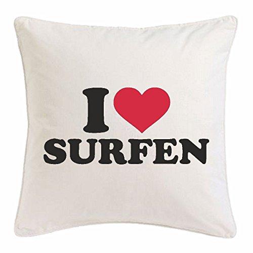 Reifen-Markt Funda de cojín 40 x 40 cm, diseño con texto 'I Love Surf', color blanco
