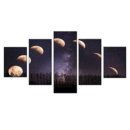 SDGW Carteles De Eclipse Lunar De Noche De Luna, Decoración De Muebles De Arte, Lienzo, Imagen De Cielo Estrellado, Pintura para El Hogar, 40X60Cm, 40X80Cm, 40X100Cm Sin Marco