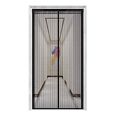 """innotree Upgraded Magnetic Screen Door with 32 Magnets Heavy Duty Mesh Curtain, Fits Doors Up to 39""""x82"""", Dogs Pets Friendly Door Screen, Black"""
