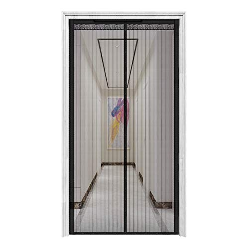 "innotree 2020 Upgraded Magnetic Screen Door with 32 Magnets Heavy Duty Mesh Curtain, Fits Doors Up to 39""x82"", Dogs Pets Friendly Door Screen, Black"