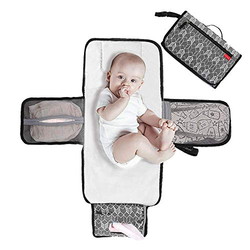 Lekebaby Portable Nappy Changing Mat Travel Baby Change Mat with Wipe-Pocket and Head Cushion, Grey
