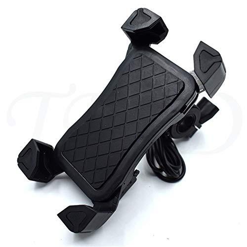 Motocicleta molduras USB Motocicleta de la Bicicleta de Carga Soporte for teléfono móvil Soporte Duradero en Forma for el Suzuki M109R / Hayabusa/Burgman 650 Executive SFV650 GSXR (Color : Black)