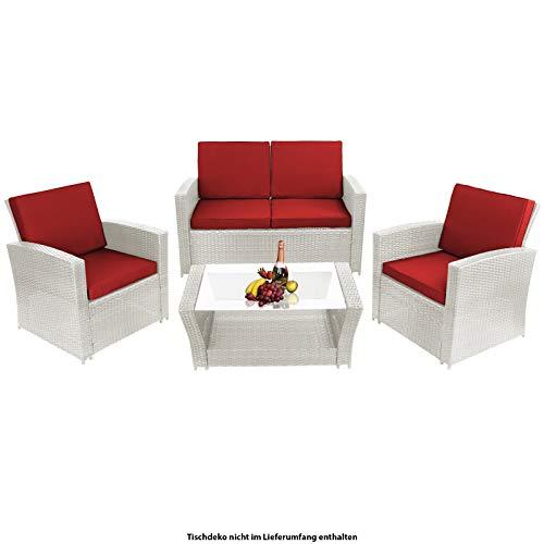 Montafox 12-teilige Polyrattan Sitzgruppe 4 Personen 5 cm Sitzpolster Tisch Glasplatte Balkonmöbel Set Sitzgarnitur Weiß, Farbe:Diamantweiß/Abendsonne