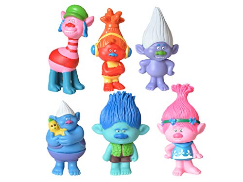Max Fun Trolls Toys, 3-Inch-Tall Movie Trolls Poppy Doll Action Figures Cake Toppers Set of 6 (Style 1)