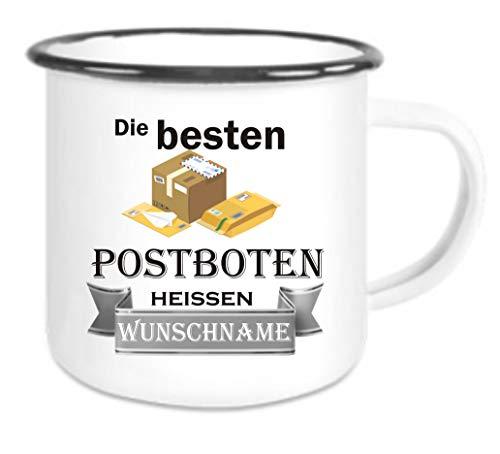 Crealuxe Emailletasse m. Wunschname Die besten Postboten heißen (Wunschname) - Kaffeetasse mit Motiv, Bedruckte Tasse mit Sprüchen oder Bildern