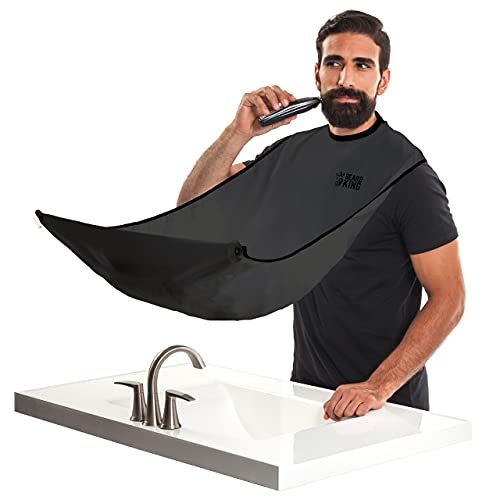 "BEARD KING - The Official Beard Bib - Hair Clippings Catcher & Grooming Cape Apron - ""As Seen on Shark Tank"" - Black (Lite Version)"