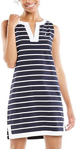 Nautica Women s Breton Stripes Sleeveless V Neck Stretch Cotton Polo Dress Navy Large product image