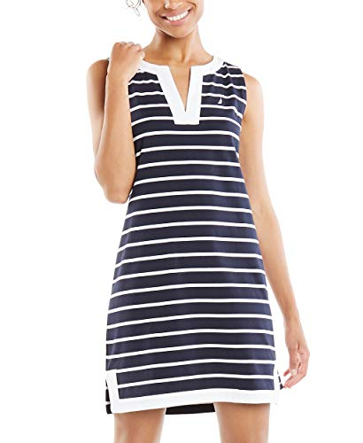 Nautica Women's Breton Stripes Sleeveless V-Neck Stretch Cotton Polo Dress, Navy, Medium