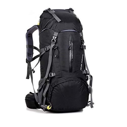 FREEDOL Bergsteigerrucksack50l (45 + 5L), Wasserdichter Wanderrucksack, Atmungsaktiver Tagesrucksack Mit Luftpumpe, Geeignet Zum Wandern, Bergsteigen Und Camping,Schwarz
