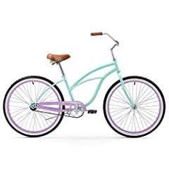 Women's single-speed cruiser bike great for relaxed riding along the beach or any other paved path Cushy oversized seat with dual springs and wide handlebars with high-density foam grips for comfort Pedal-backwards coaster brake for easy braking 2. 1...