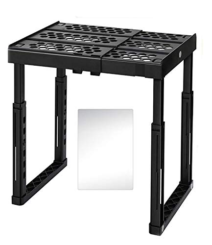 Locker Organizer Shelf with Magnetic Mirror, Adjustable Width and Height, Ideal Locker for School, Office, and Gym Lockers (Black)