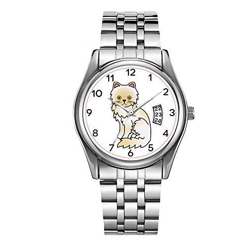 Reloj de lujo para hombre de 30 m impermeable fecha reloj masculino deportes relojes hombres cuarzo casual reloj de pulsera de Navidad crema con ojos amarillos reloj de gato persa