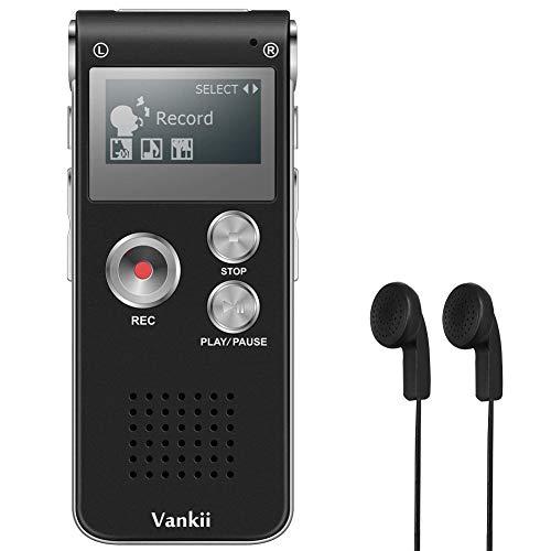 Registratore Vocale Portatile, Vankii 8GB Multifunzionale USB Digital Audio Voice Recorder con Porta Mini USB, Lettore MP3 (Nero)