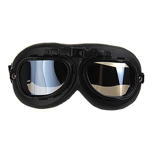 TININNA Gafas Lente Lens Tipo Aviador contra Viento UV para Moto Harley(Negro)