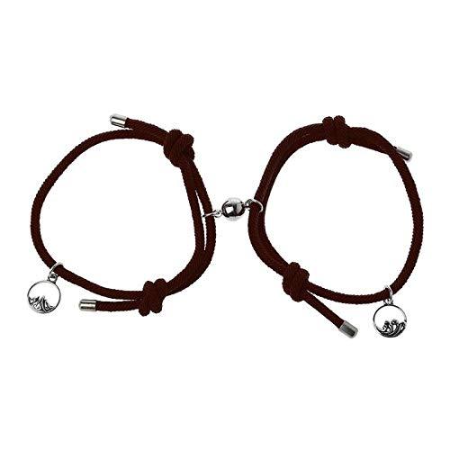 2 Stück Set von Liebenden Paarung Freundschaft Armband Seil geflochtenes Paar magnetisch-Kaffee