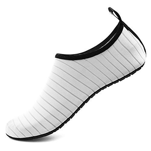 Deevike Badeschuhe Damen Barfussschuhe Herren Sommer Strandschuhe Wasserschuhe Schwimmschuhe Aquaschuhe Yoga Socken Strandschuhe Weiß 38/39