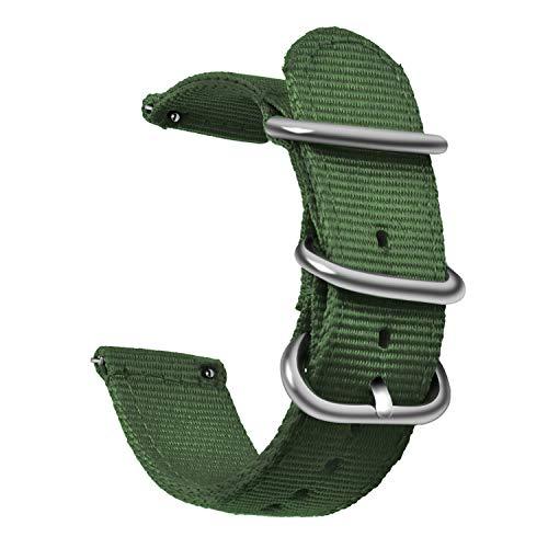 OLLREAR Nylon Cinturini Orologi Tela di canapa Orologi Bracciale Militari Esercito Cinturino - 9 Colors & 3 Sizes 20mm Army Green