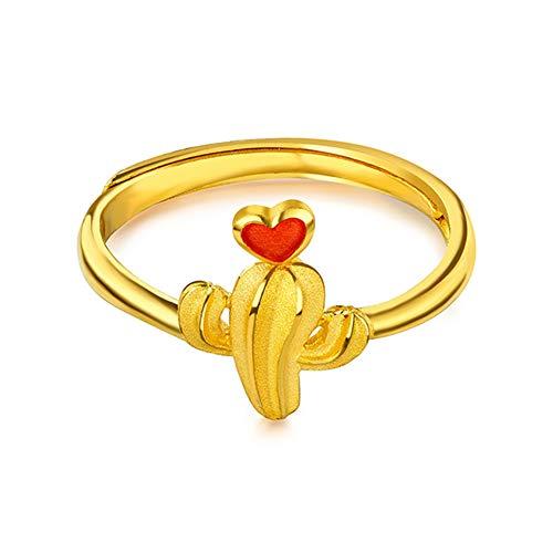 YZJYB Anillo De Collar De Joyas para Mujer Oro Puro 24K Anillo De Regalo De San Valentín Compromiso De Aniversario