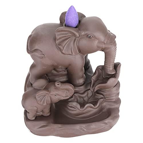 Jiawu Quemador de Cono de Incienso, Forma de Elefante, Cascada, Soporte de aromaterapia, decoración de Adorno, Quemador de Incienso de reflujo, Cascada de Insectos, Incienso Trippy