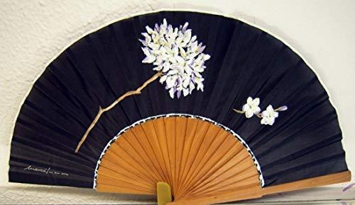 Abanico de seda natural pintado y montado a mano con la flor malagueña'Biznaga sobre negro'