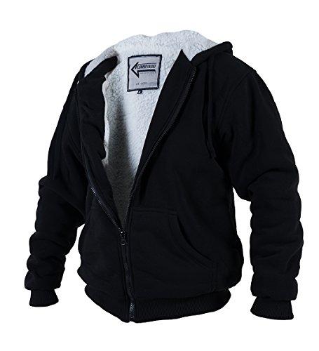 Winterjacke Sweatjacke Arctic Sweat Sherpa Jacke mit Kapuze (Schwarz, XL)