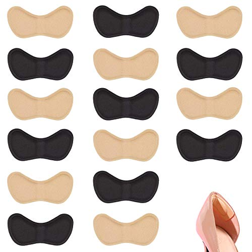 Ealicere 8 Pairs Heel Cushion Pads, Comfortable Heel Shoe Grips Liner, Self-Adhesive Shoe Insoles, Foot Care Protector-Black and Beige
