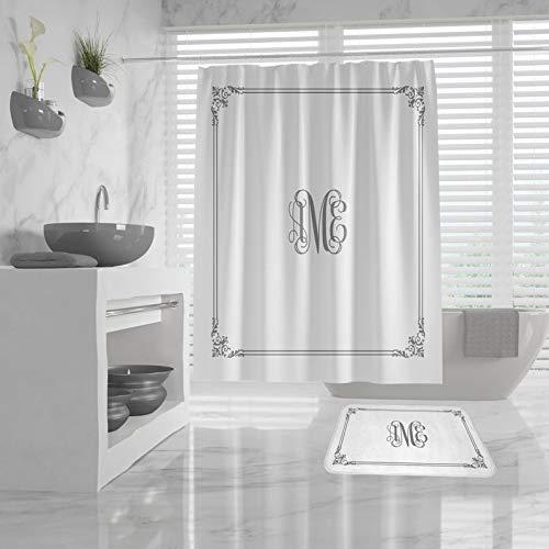 N/B Cortina de ducha de monograma personalizada, Borde vintage, Baño monograma personalizado, Decoración de baño de diseño con clase, Dormitorio, Iniciales personalizadas
