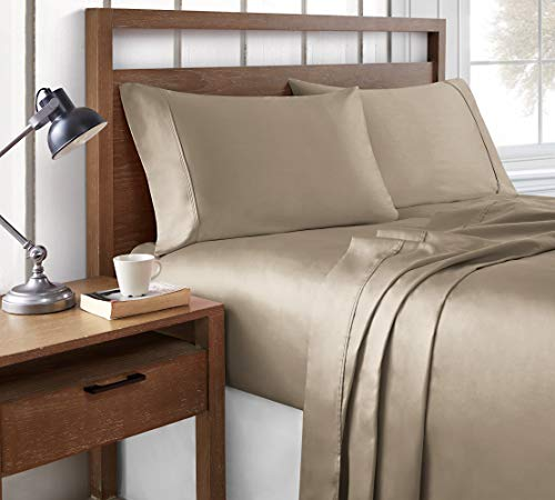 Brielle 100% Modal 400 Thread Count Sateen Sheet Set, Queen, Taupe, Model Number: 807000256174
