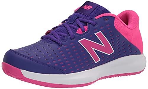 New Balance Women's 696 V4 Hard Court Tennis Shoe, Deep Violet/Pink Glo, 8