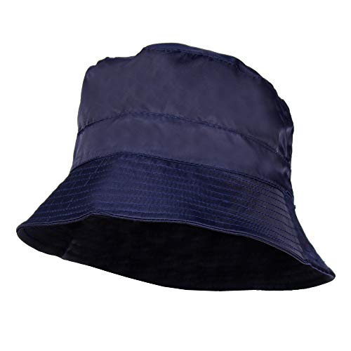 Navy Blue Waterproof Packable Rain Bucket Hat, Zip Pocket – Foldable Crusher Cap