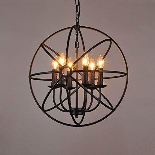 LIPENLI Luces Pendientes, Colgante de la Vendimia de la lámpara luz de Techo de Hierro Jaula de pájaros de Vela Colgante Habitación Sala Bar del Accesorio de iluminación E14, 42 cm Diámetro