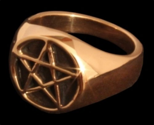 Bague chevalière en forme de pentagramme en bronze, style Viking médiéval 62 bronze