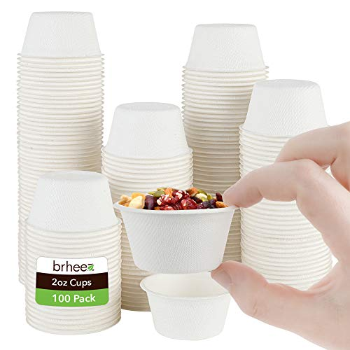 brheez 2 oz Disposable Bagasse Fiber Souffle Cups   100% Natural Biodegradable & Compostable Perfect for Condiments Small Portion & Samples   Eco Friendly Paper Alternative - White [Pack of 100 Cups]