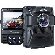 Dashcam Auto Vorne Hinten, Integrierte GPS, Full HD 1080P Dual Crosstour Autokamera mit Parküberwachung Funktion, Infrarot-Nachtsicht, Bewegungserkennung, G-Sensor, Schleifenaufnahme und WDR