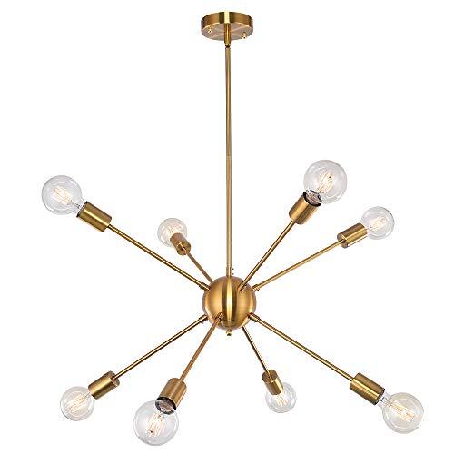 OYI Sputnik Kronleuchter Modern Pendelleuchte 8 Flammig Hängelampe E27 Lampenfassung Brass Metall für Esszimmer Zimmer Wohnzimmer Küche Restaurant