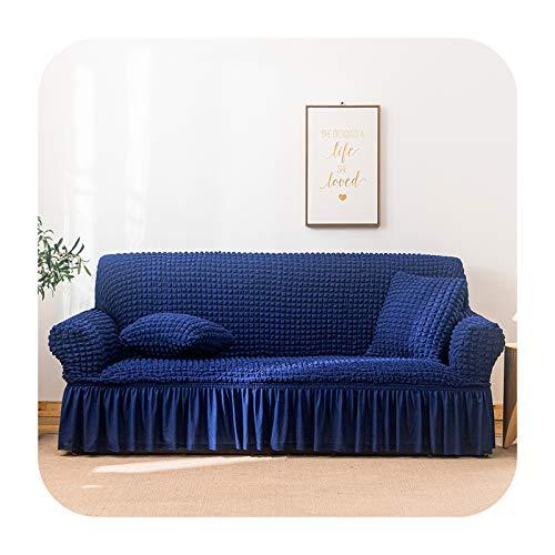 KASHINO Funda de sofá Seersucker para salón sofá falda anti-polvo Funda suave única para sofá funda de sofá color 13-doble asiento