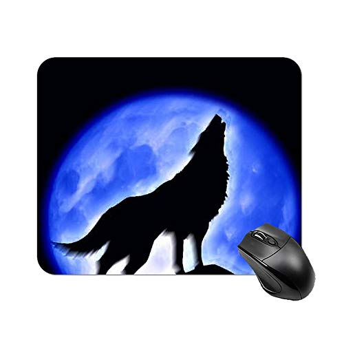 """Yilooom Wolf Fullmoon & Blue Night Wild Animals Art Rectangle Non Slip Rubber Mousepad Gaming Mouse Pad 9""""x7"""""""