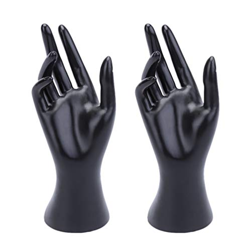 Cabilock 2pcs Female Mannequin Hand Jewelry Display Holder Plastic Bracelet Ring Watch Stand Support Holder Ring Stand ((Black Matte or light, Random))