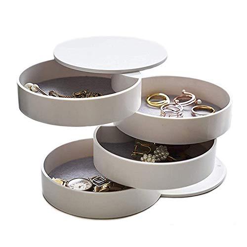Longjet - Caja organizadora de joyas pequeña para pendientes, anillos y pulseras, color blanco
