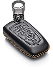 Vitodeco Genuine Leather Smart Key Keyless Remote Entry Fob Case Cover with Key Chain for 2019 Ford Fusion, Explorer, Escape, Edge, F-150, Mustang and More Models 5-Button Black KC-FORD-F5B-BLACK
