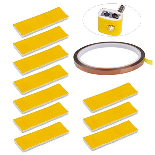 YOTINO 10 Stück Heizblock Baumwolle Isolierung mit Kaptonklebeband 3mm Heizung Block Baumwolle Wärmedämmung für 3D Drucker
