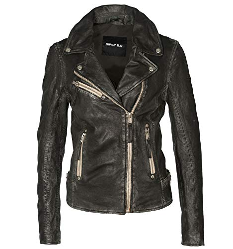 Gipsy Lederjacke Bikerjacke Damen PG2.0 P SF LULV Jacke Slim Fit - pflanzlich gegerbt in Black, Farbe:black, Größe:XS