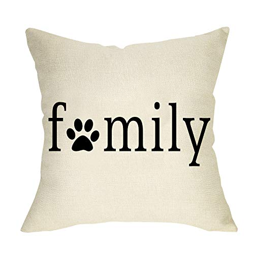 Softxpp Dog Paw Printed Family Throw Pillow Cover, Decorative Pet Cushion Case Farmhouse Decorations for Dog Lover Gift, Outdoor Pillowcase Home Decor for Sofa Couch 18 x 18 Cotton Linen