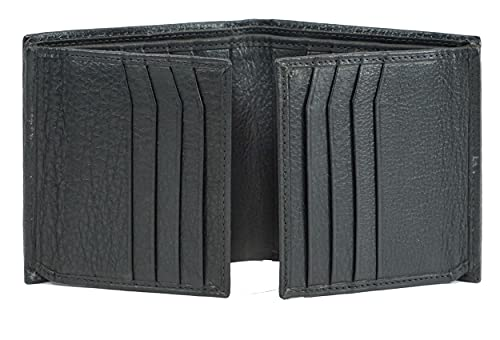 Bullz Genuine Nappa Cow leather Dual Credit Card ID Flap Bifold Mens Wallet Passcase RFID