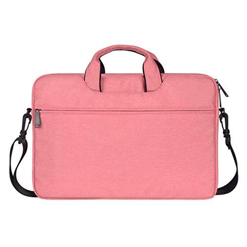 Preisvergleich Produktbild Laptop-Tasche Handtasche Schultertasche Multifunktionale Notebook-Hülle mit Tragegurt für Chromebook MacBook / HP / Acer / Dell / Lenovo Large Size, Rosa, 15.4Inch