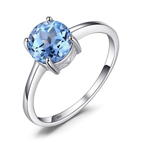JewelryPalace Runder 1.6ct Natürlicher Himmelblauer Topas Birthstone Solitaire Ring 925 Sterling Silber