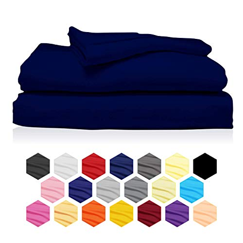Rockfields Fitted Sheets, Dyed Solid Colour Fitted Sheet Depth 25cm-9.8in, Polycotton Fitted Sheet Double, Fitted Bed Sheets (4FT Small Double, Single, Double, King, Super King) (Navy Blue, Double)