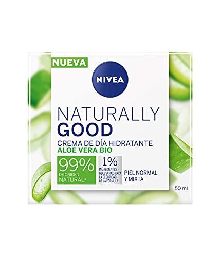 Nivea Naturally Good Crema de Día Hidratante con Aloe Vera Bio, Piel Normal y Mixta, 50ml